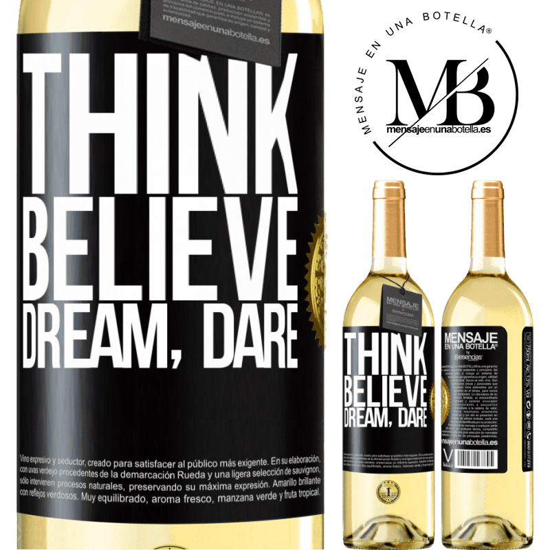 24,95 € Free Shipping | White Wine WHITE Edition Think believe dream dare Black Label. Customizable label Young wine Harvest 2020 Verdejo