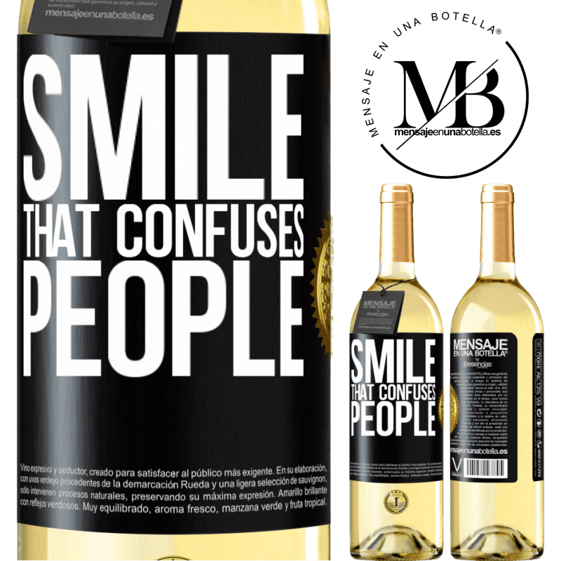 24,95 € Free Shipping | White Wine WHITE Edition Smile, that confuses people Black Label. Customizable label Young wine Harvest 2020 Verdejo