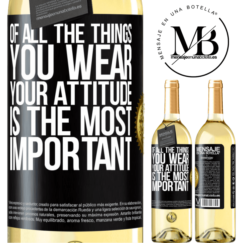 24,95 € Free Shipping | White Wine WHITE Edition Of all the things you wear, your attitude is the most important Black Label. Customizable label Young wine Harvest 2020 Verdejo