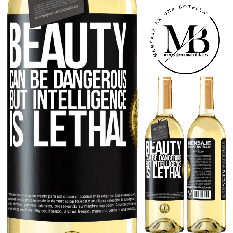 24,95 € Free Shipping   White Wine WHITE Edition Beauty can be dangerous, but intelligence is lethal Black Label. Customizable label Young wine Harvest 2020 Verdejo