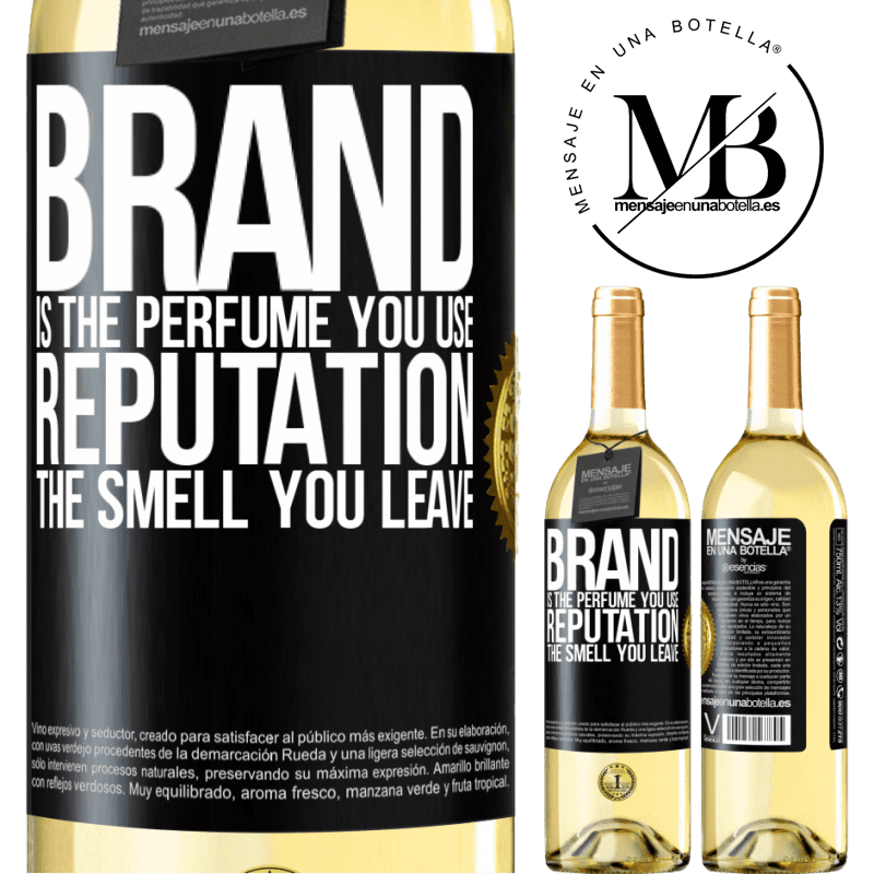 24,95 € Free Shipping   White Wine WHITE Edition Brand is the perfume you use. Reputation, the smell you leave Black Label. Customizable label Young wine Harvest 2020 Verdejo