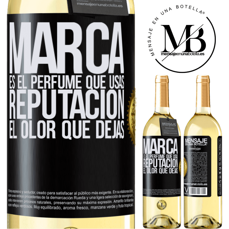 24,95 € Envoi gratuit | Vin blanc Édition WHITE La marque est le parfum que vous utilisez. Réputation, l'odeur que vous laissez Étiquette Noire. Étiquette personnalisable Vin jeune Récolte 2020 Verdejo