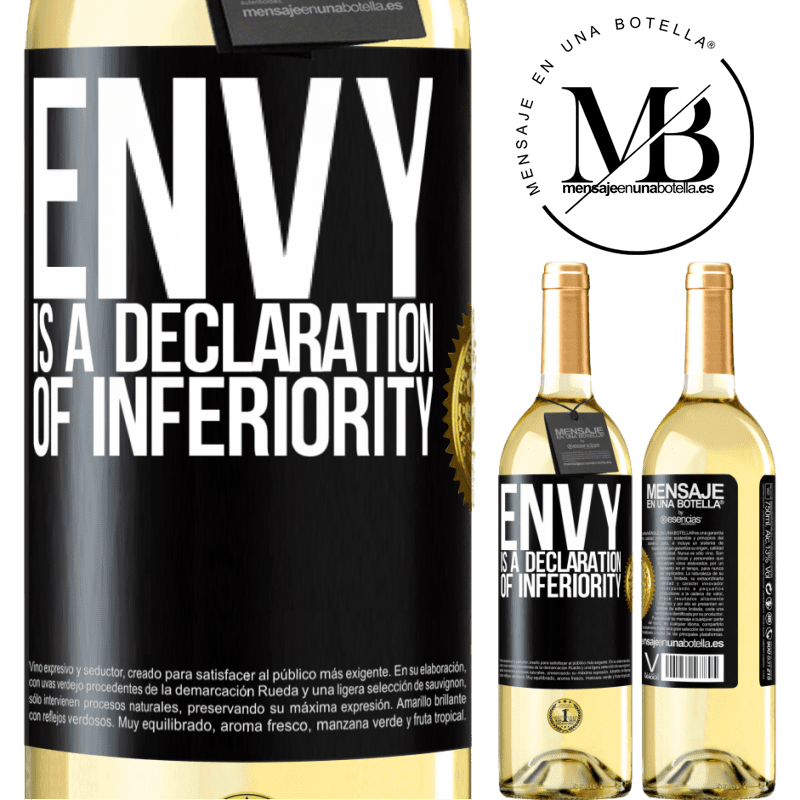 24,95 € Free Shipping   White Wine WHITE Edition Envy is a declaration of inferiority Black Label. Customizable label Young wine Harvest 2020 Verdejo