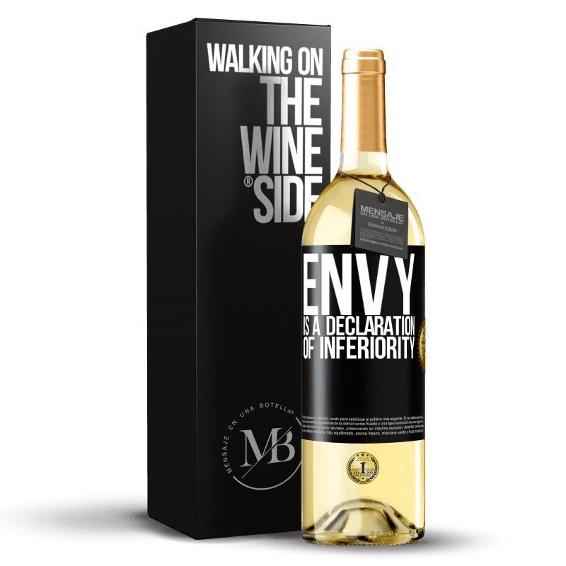24,95 € Free Shipping | White Wine WHITE Edition Envy is a declaration of inferiority Black Label. Customizable label Young wine Harvest 2020 Verdejo