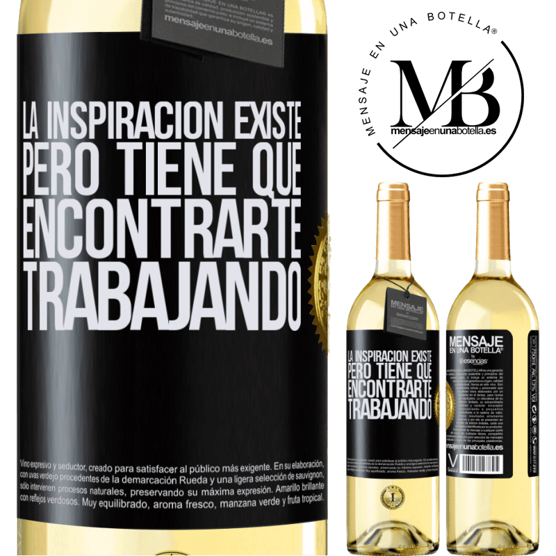 24,95 € Envoi gratuit   Vin blanc Édition WHITE L'inspiration existe, mais elle doit vous trouver en train de travailler Étiquette Noire. Étiquette personnalisable Vin jeune Récolte 2020 Verdejo