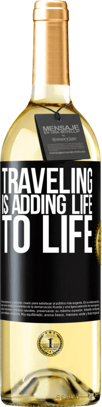 24,95 € Free Shipping | White Wine WHITE Edition Traveling is adding life to life Black Label. Customizable label Young wine Harvest 2020 Verdejo