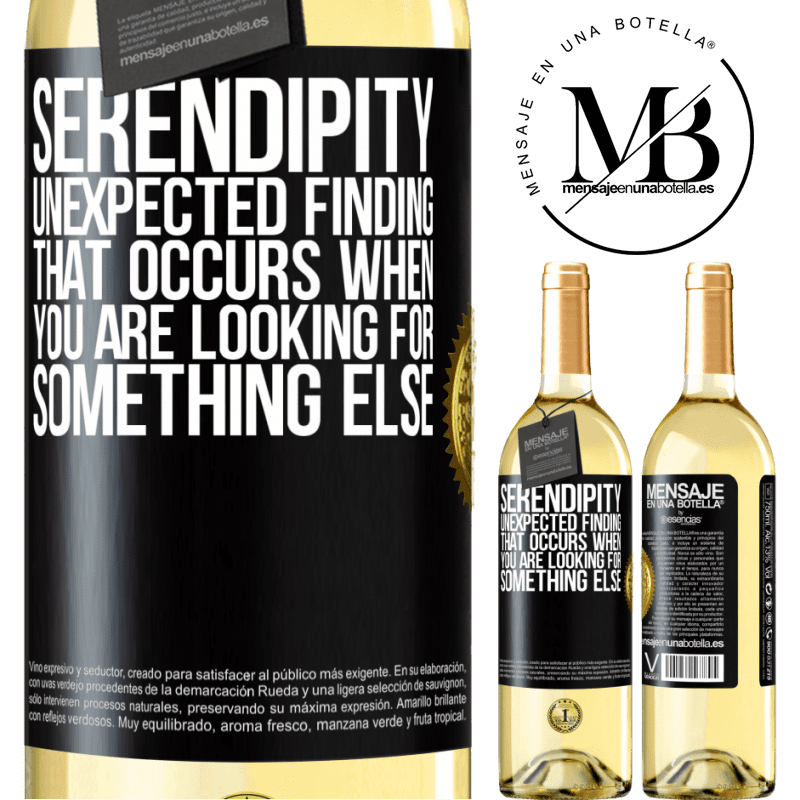 24,95 € Free Shipping   White Wine WHITE Edition Serendipity Unexpected finding that occurs when you are looking for something else Black Label. Customizable label Young wine Harvest 2020 Verdejo