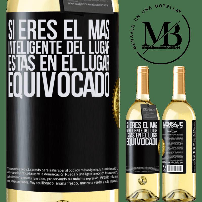 24,95 € Envoi gratuit   Vin blanc Édition WHITE Si vous êtes le plus intelligent de l'endroit, vous êtes au mauvais endroit Étiquette Noire. Étiquette personnalisable Vin jeune Récolte 2020 Verdejo