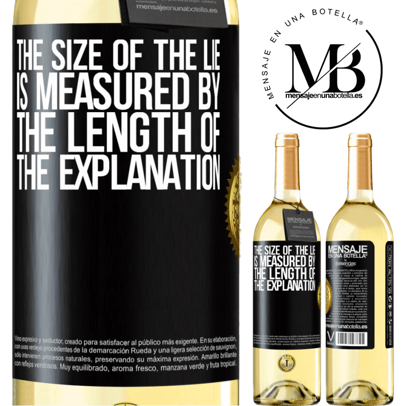 24,95 € Free Shipping | White Wine WHITE Edition The size of the lie is measured by the length of the explanation Black Label. Customizable label Young wine Harvest 2020 Verdejo