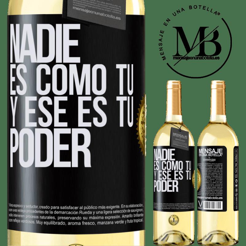 24,95 € Envío gratis   Vino Blanco Edición WHITE Nadie es como tú, y ese es tu poder Etiqueta Negra. Etiqueta personalizable Vino joven Cosecha 2020 Verdejo