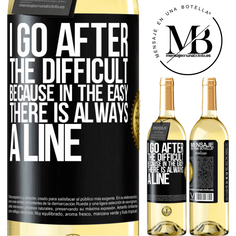 24,95 € Free Shipping   White Wine WHITE Edition I go after the difficult, because in the easy there is always a line Black Label. Customizable label Young wine Harvest 2020 Verdejo