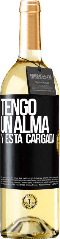 24,95 € Free Shipping | White Wine WHITE Edition Tengo un alma y está cargada Black Label. Customizable label Young wine Harvest 2020 Verdejo