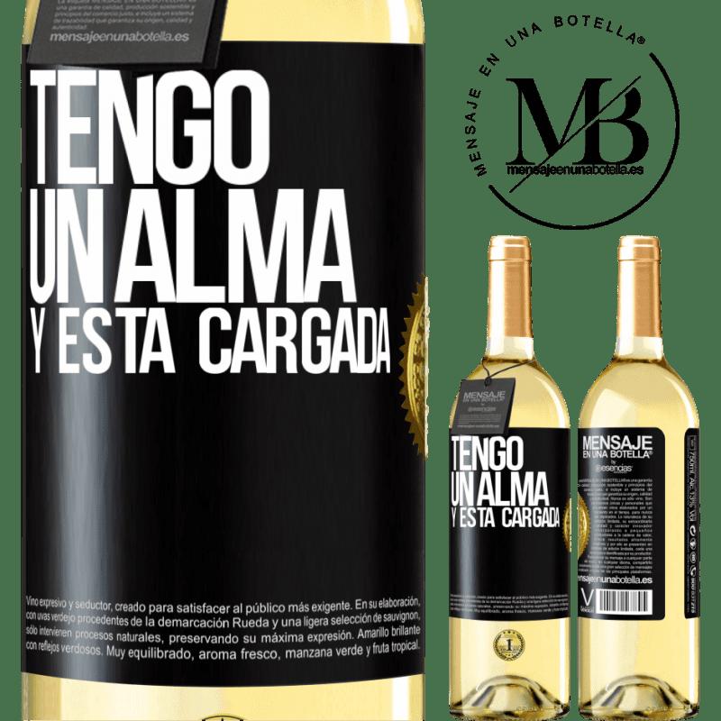 24,95 € Free Shipping   White Wine WHITE Edition Tengo un alma y está cargada Black Label. Customizable label Young wine Harvest 2020 Verdejo