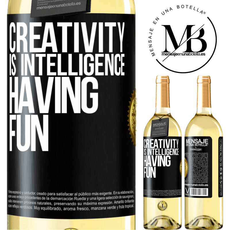 24,95 € Free Shipping   White Wine WHITE Edition Creativity is intelligence having fun Black Label. Customizable label Young wine Harvest 2020 Verdejo