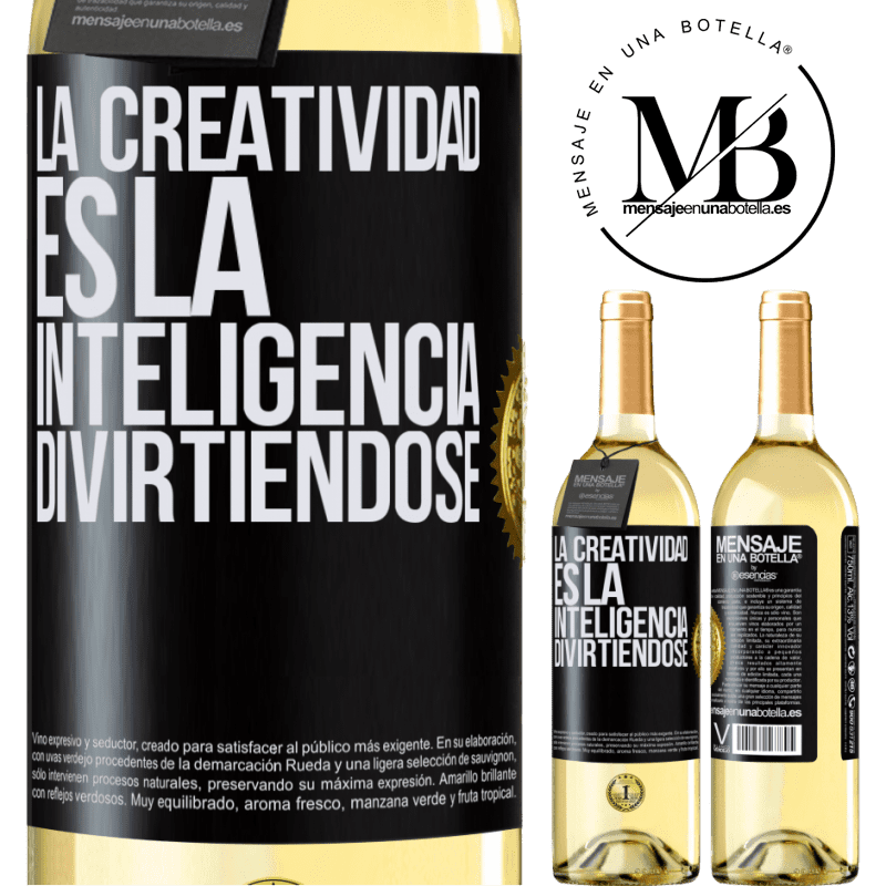 24,95 € Envoi gratuit | Vin blanc Édition WHITE La créativité, c'est l'intelligence qui s'amuse Étiquette Noire. Étiquette personnalisable Vin jeune Récolte 2020 Verdejo