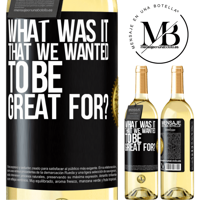 24,95 € Free Shipping | White Wine WHITE Edition what was it that we wanted to be great for? Black Label. Customizable label Young wine Harvest 2020 Verdejo