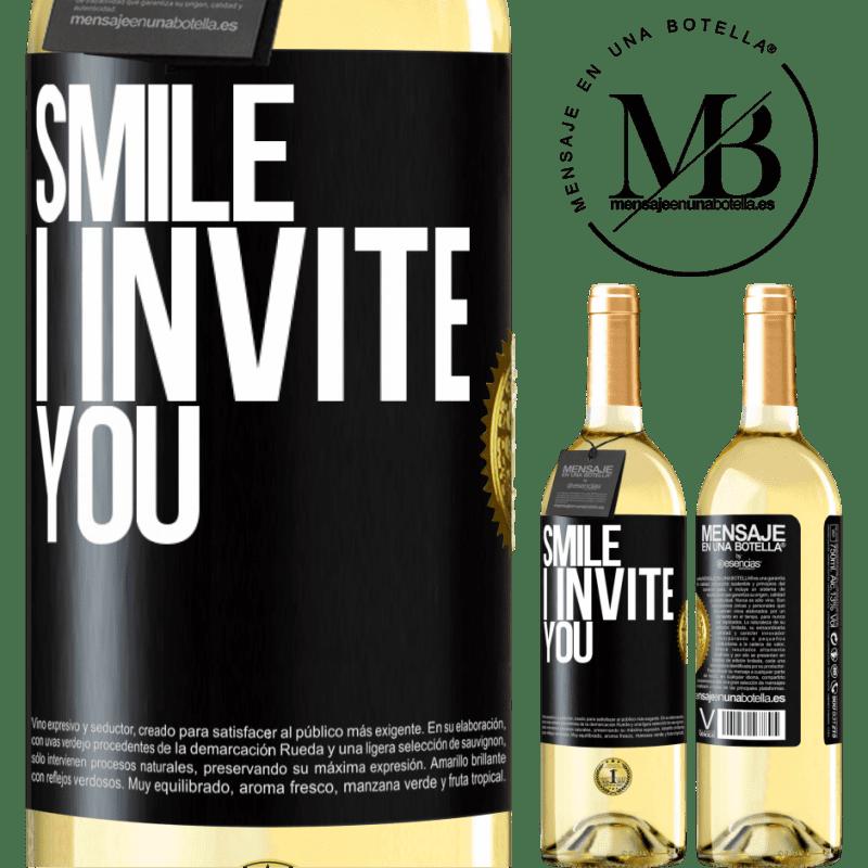 24,95 € Free Shipping | White Wine WHITE Edition Smile I invite you Black Label. Customizable label Young wine Harvest 2020 Verdejo
