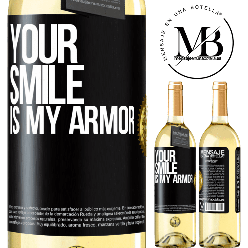 24,95 € Free Shipping | White Wine WHITE Edition Your smile is my armor Black Label. Customizable label Young wine Harvest 2020 Verdejo