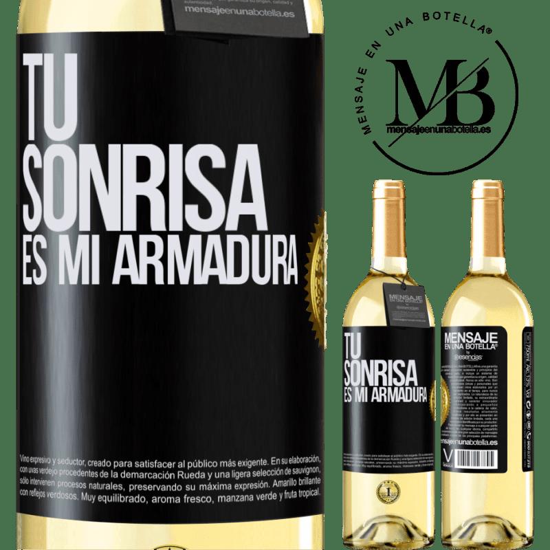24,95 € Envoi gratuit | Vin blanc Édition WHITE Ton sourire est mon armure Étiquette Noire. Étiquette personnalisable Vin jeune Récolte 2020 Verdejo