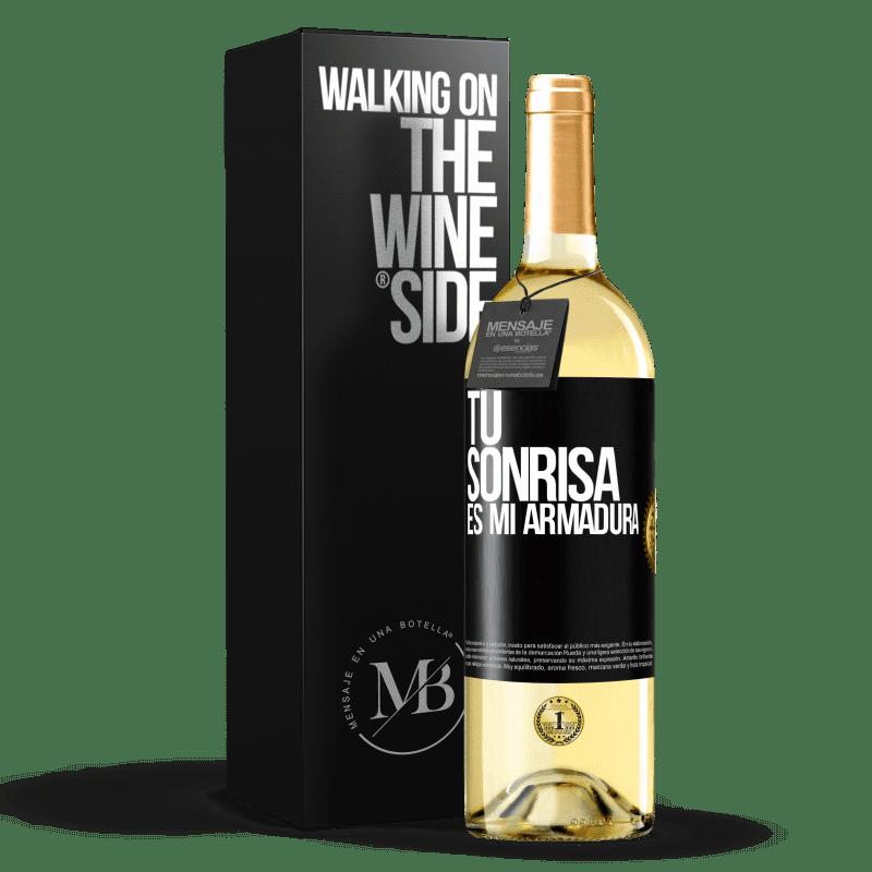 24,95 € Envío gratis | Vino Blanco Edición WHITE Tu sonrisa es mi armadura Etiqueta Negra. Etiqueta personalizable Vino joven Cosecha 2020 Verdejo