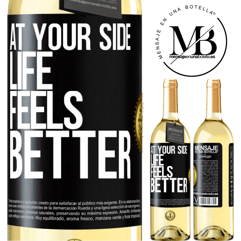 24,95 € Free Shipping | White Wine WHITE Edition At your side life feels better Black Label. Customizable label Young wine Harvest 2020 Verdejo