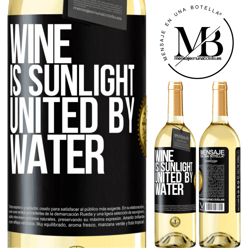 24,95 € Free Shipping | White Wine WHITE Edition Wine is sunlight, united by water Black Label. Customizable label Young wine Harvest 2020 Verdejo