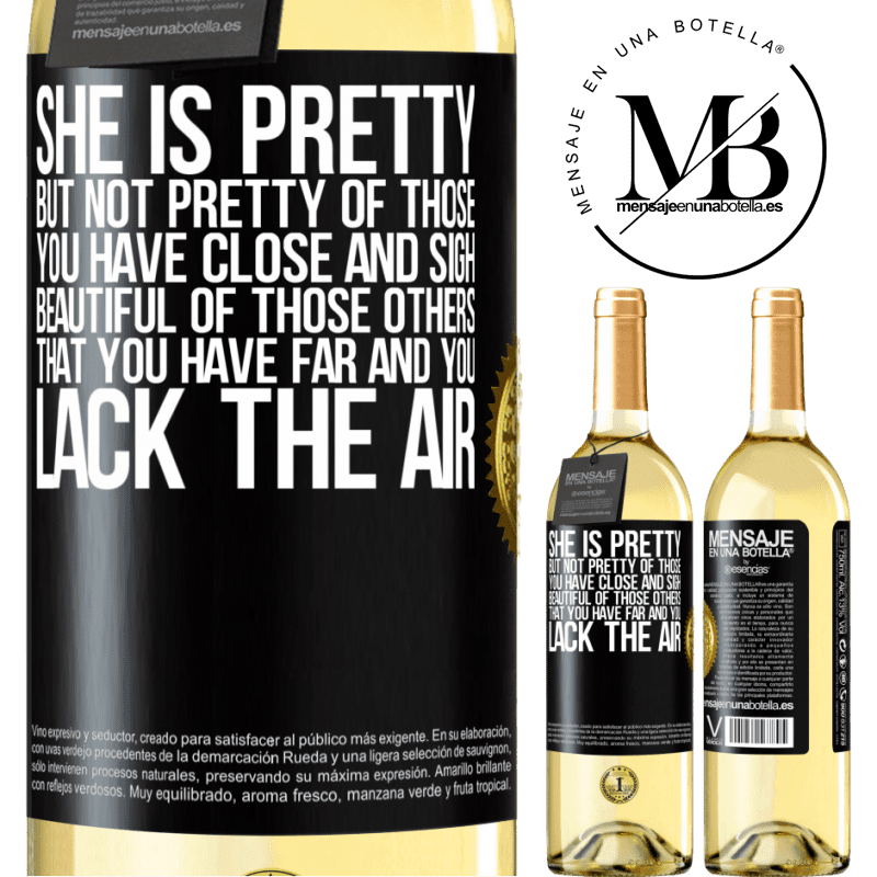 24,95 € Free Shipping | White Wine WHITE Edition She is pretty. But not pretty of those you have close and sigh. Beautiful of those others, that you have far and you lack Black Label. Customizable label Young wine Harvest 2020 Verdejo