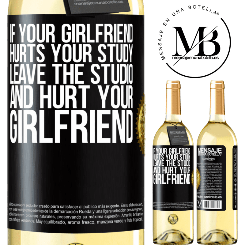 24,95 € Free Shipping | White Wine WHITE Edition If your girlfriend hurts your study, leave the studio and hurt your girlfriend Black Label. Customizable label Young wine Harvest 2020 Verdejo