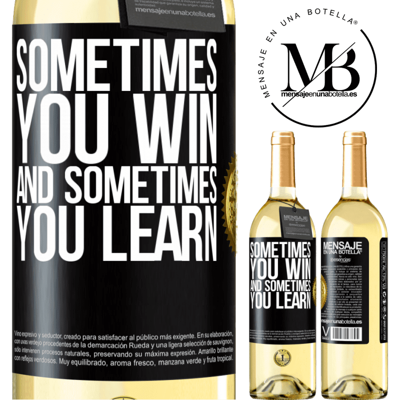 24,95 € Free Shipping | White Wine WHITE Edition Sometimes you win, and sometimes you learn Black Label. Customizable label Young wine Harvest 2020 Verdejo