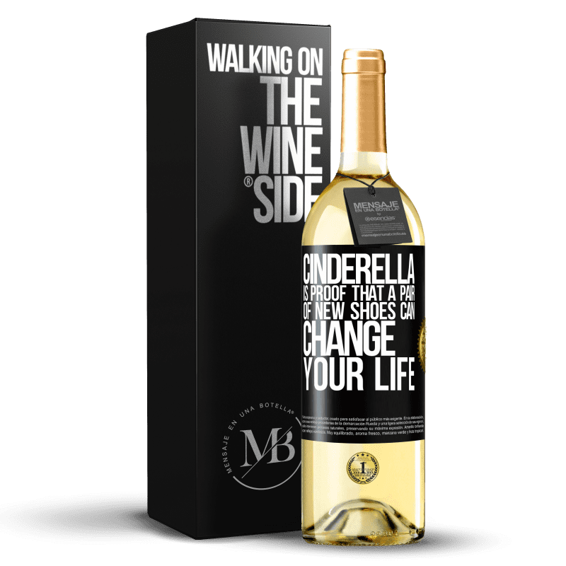 24,95 € Free Shipping | White Wine WHITE Edition Cinderella is proof that a pair of new shoes can change your life Black Label. Customizable label Young wine Harvest 2020 Verdejo