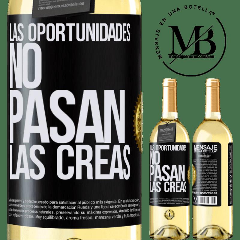 24,95 € Envoi gratuit | Vin blanc Édition WHITE Les opportunités ne passent pas. Vous les créez Étiquette Noire. Étiquette personnalisable Vin jeune Récolte 2020 Verdejo
