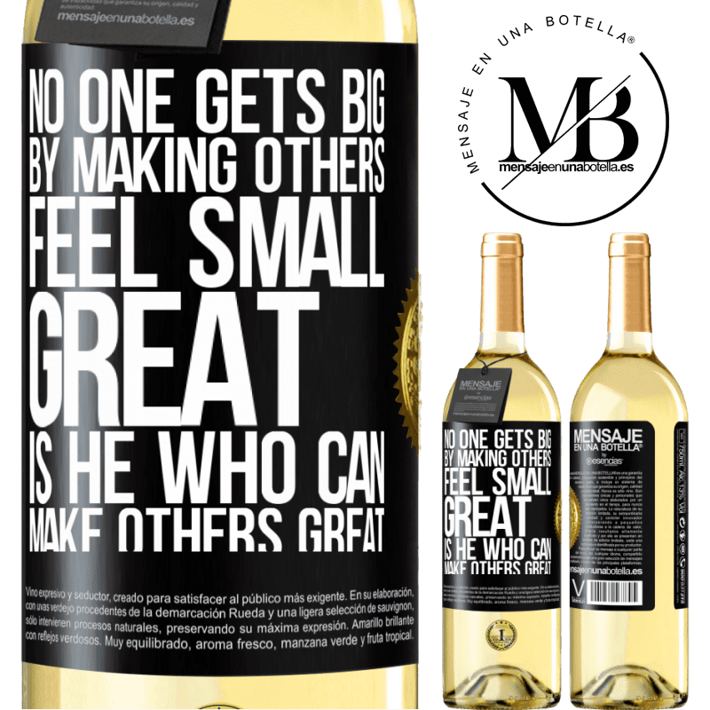 24,95 € Free Shipping   White Wine WHITE Edition No one gets big by making others feel small. Great is he who can make others great Black Label. Customizable label Young wine Harvest 2020 Verdejo