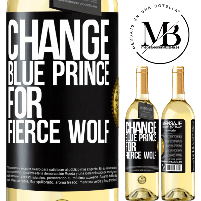 24,95 € Free Shipping | White Wine WHITE Edition Change blue prince for fierce wolf Black Label. Customizable label Young wine Harvest 2020 Verdejo