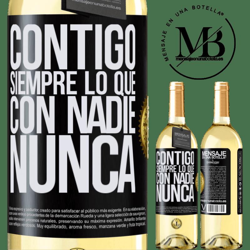 24,95 € Envoi gratuit | Vin blanc Édition WHITE Avec toi toujours avec quiconque Étiquette Noire. Étiquette personnalisable Vin jeune Récolte 2020 Verdejo