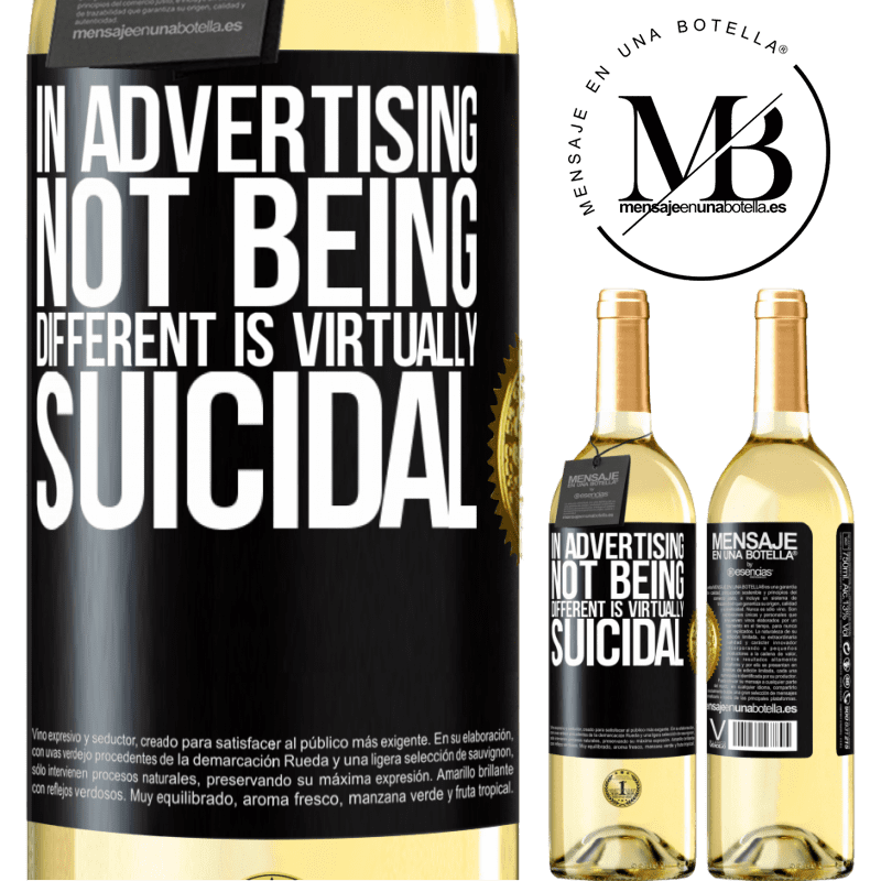 24,95 € Free Shipping   White Wine WHITE Edition In advertising, not being different is virtually suicidal Black Label. Customizable label Young wine Harvest 2020 Verdejo