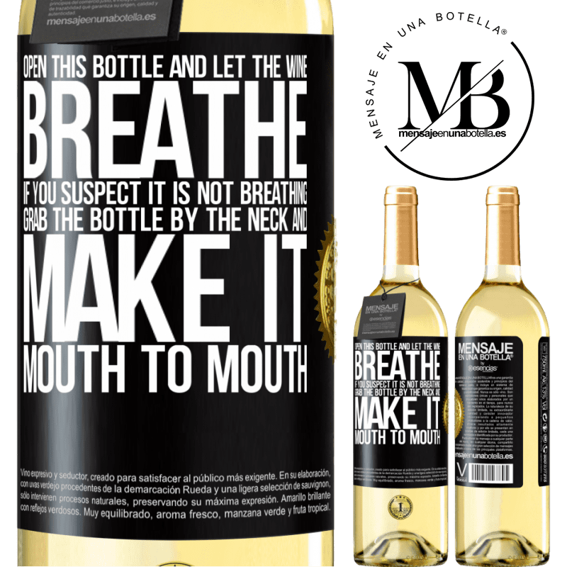 24,95 € Free Shipping   White Wine WHITE Edition Open this bottle and let the wine breathe. If you suspect you are not breathing, grab the bottle by the neck and make it Black Label. Customizable label Young wine Harvest 2020 Verdejo