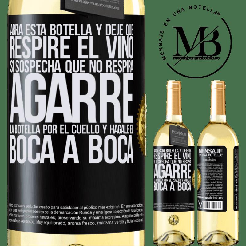 24,95 € Envoi gratuit   Vin blanc Édition WHITE Ouvrez cette bouteille et laissez respirer le vin. Si vous pensez que vous ne respirez pas, prenez le flacon par le cou et Étiquette Noire. Étiquette personnalisable Vin jeune Récolte 2020 Verdejo