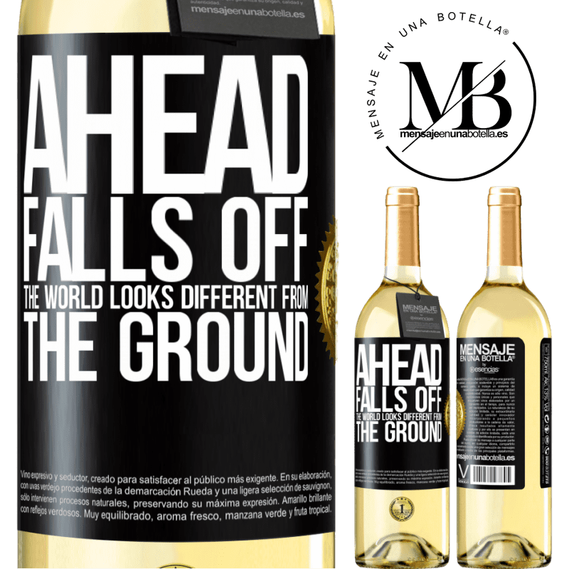 24,95 € Free Shipping | White Wine WHITE Edition Ahead. Falls off. The world looks different from the ground Black Label. Customizable label Young wine Harvest 2020 Verdejo