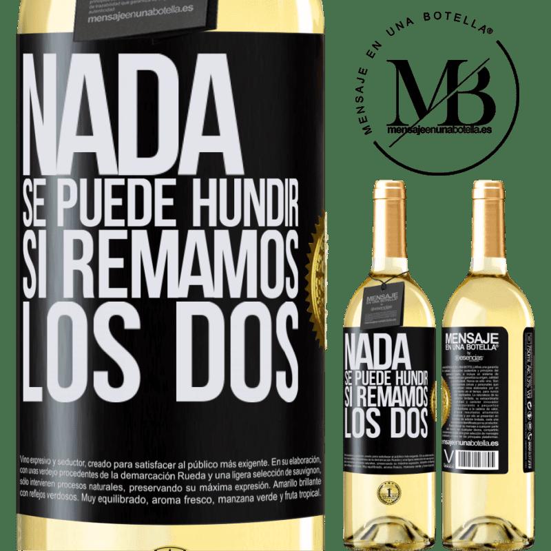 24,95 € Envoi gratuit | Vin blanc Édition WHITE Rien ne peut couler si nous pagayons les deux Étiquette Noire. Étiquette personnalisable Vin jeune Récolte 2020 Verdejo