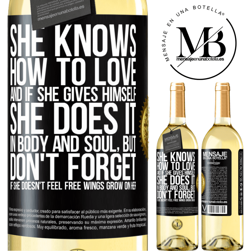 24,95 € Free Shipping   White Wine WHITE Edition He knows how to love, and if he gives himself, he does it in body and soul. But, don't forget, if you don't feel free, your Black Label. Customizable label Young wine Harvest 2020 Verdejo
