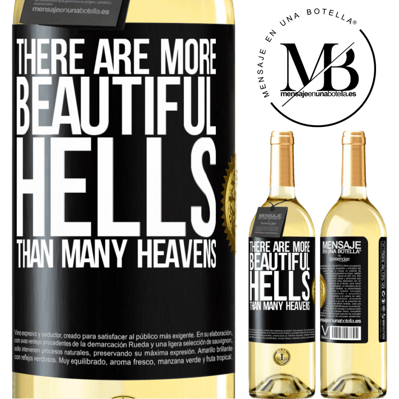 24,95 € Free Shipping   White Wine WHITE Edition There are more beautiful hells than many heavens Black Label. Customizable label Young wine Harvest 2020 Verdejo