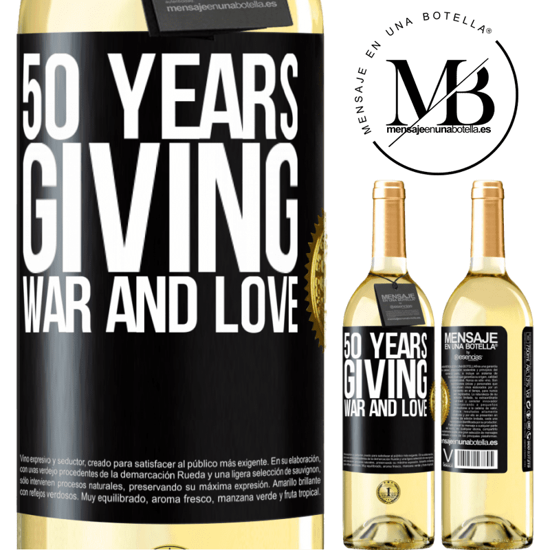 24,95 € Free Shipping | White Wine WHITE Edition 50 years giving war and love Black Label. Customizable label Young wine Harvest 2020 Verdejo