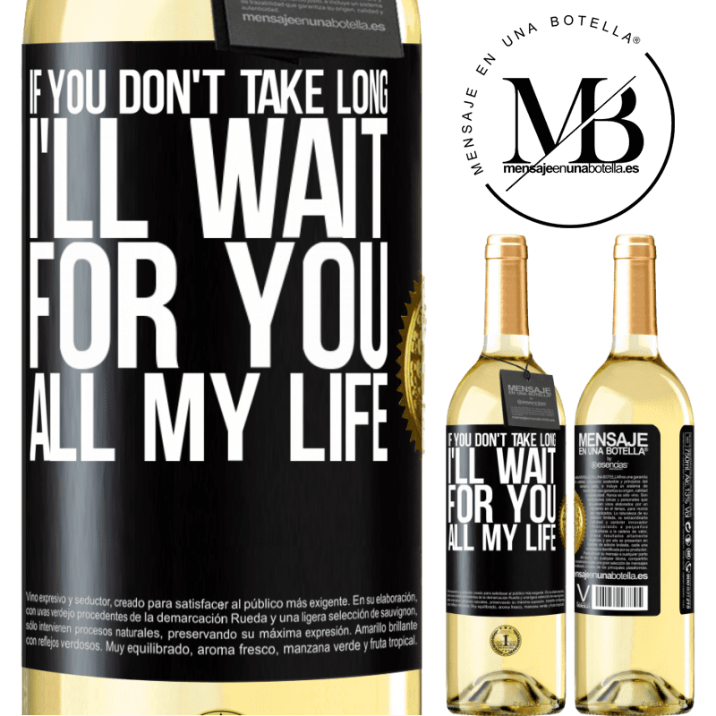 24,95 € Free Shipping   White Wine WHITE Edition If you don't take long, I'll wait for you all my life Black Label. Customizable label Young wine Harvest 2020 Verdejo