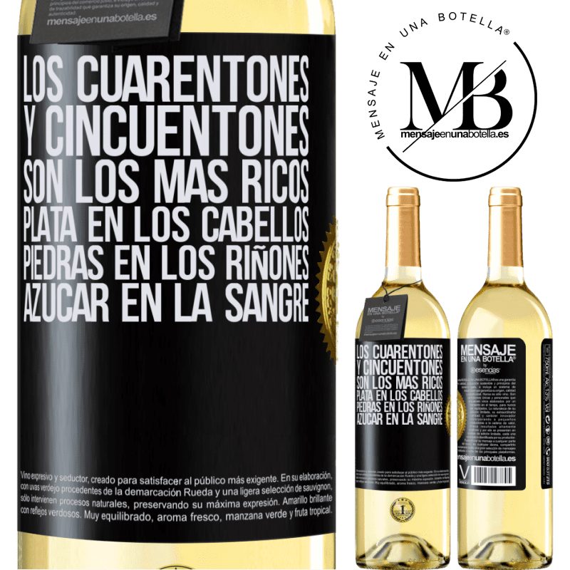 24,95 € Envío gratis   Vino Blanco Edición WHITE Los cuarentones y cincuentones son los más ricos. Plata en los cabellos, piedras en los riñones, azúcar en la sangre Etiqueta Negra. Etiqueta personalizable Vino joven Cosecha 2020 Verdejo