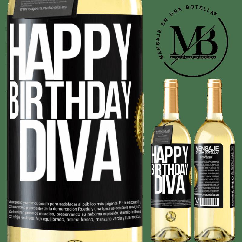 24,95 € Free Shipping | White Wine WHITE Edition Happy birthday Diva Black Label. Customizable label Young wine Harvest 2020 Verdejo