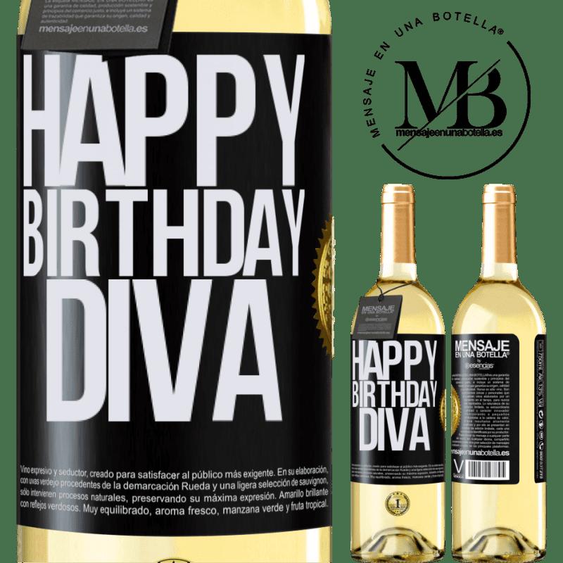 24,95 € Envío gratis | Vino Blanco Edición WHITE Happy birthday Diva Etiqueta Negra. Etiqueta personalizable Vino joven Cosecha 2020 Verdejo