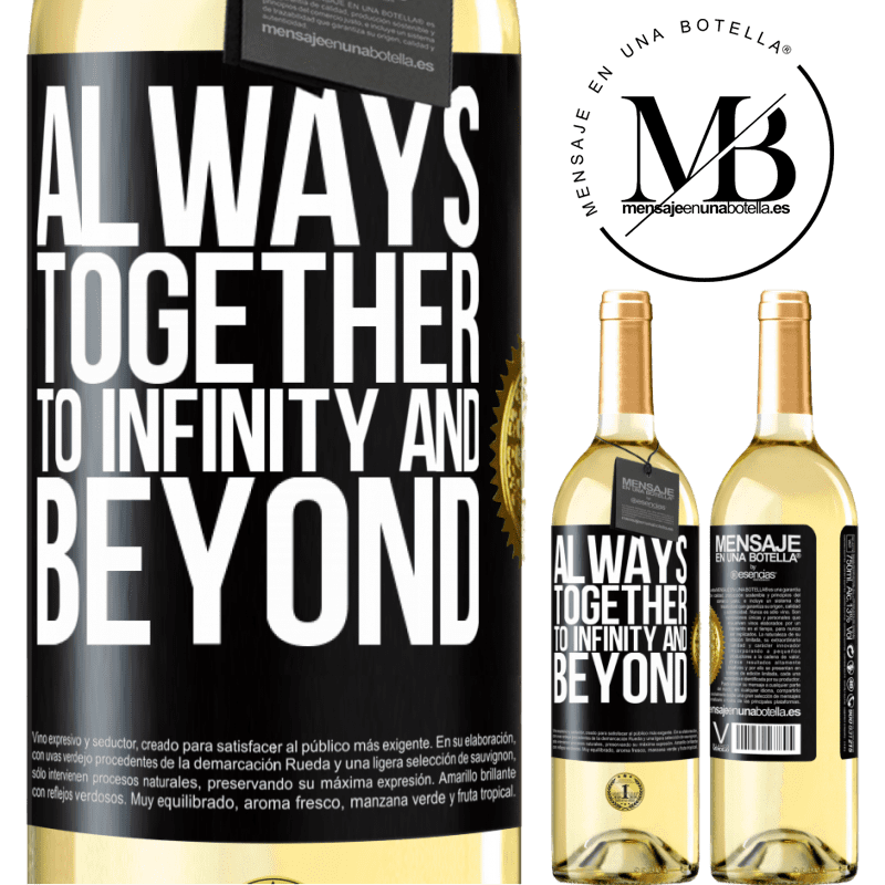 24,95 € Free Shipping   White Wine WHITE Edition Always together to infinity and beyond Black Label. Customizable label Young wine Harvest 2020 Verdejo