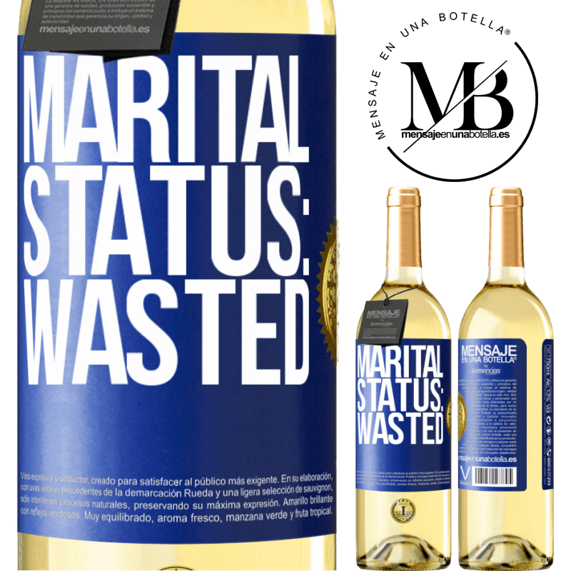 24,95 € Free Shipping   White Wine WHITE Edition Marital status: wasted Blue Label. Customizable label Young wine Harvest 2020 Verdejo