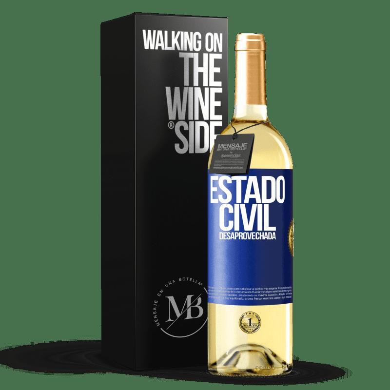 24,95 € Envoi gratuit | Vin blanc Édition WHITE État matrimonial: gaspillé Étiquette Bleue. Étiquette personnalisable Vin jeune Récolte 2020 Verdejo
