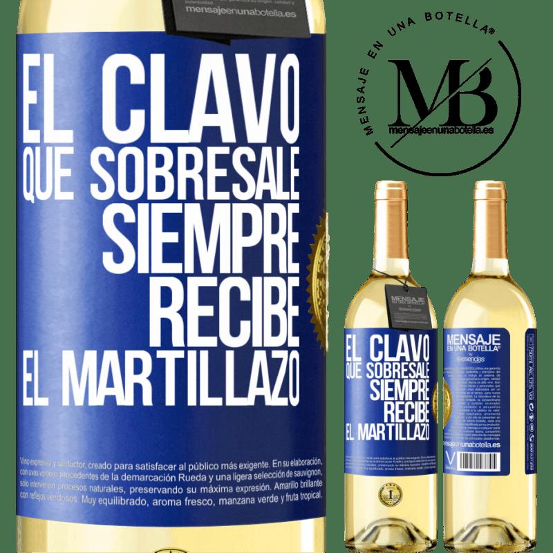24,95 € Envoi gratuit | Vin blanc Édition WHITE Le clou en saillie reçoit toujours le martèlement Étiquette Bleue. Étiquette personnalisable Vin jeune Récolte 2020 Verdejo